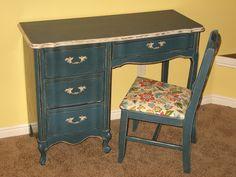 A Brush of Whimsy: Aubusson Blue Desk