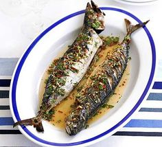 Barbecued Mackerel With Ginger, Chilli & Lime Drizzle With Extra-virgin Olive Oil, Mackerel, Red Chili Peppers, Garlic Cloves, Fresh Ginger Root, Honey, Lime, Sesame Oil, Thai Fish Sauce