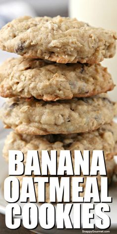 BANANA OATMEAL COOKIES, easy homemade cookie recipe full of chocolate chips and walnuts. These from scratch cookies are delicious and soft and chewy. Easy Homemade Cookie Recipes, Homemade Oatmeal Cookies, Banana Cookie Recipe, Banana Bread Cookies, Healthy Oatmeal Cookies, Oatmeal Cookie Recipes, Banana Recipes, Soft And Chewy Granola Bars Recipe, Banana Oatmeal Chocolate Chip Cookies