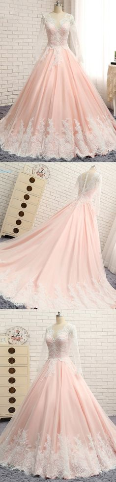 Long Sleeves V Neck Applique Blush Cheap Long Evening Prom Dresses, WG1003 #promdress #eveningdress