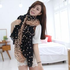 New Fashion Women's Long Soft Chiffon Polka Dot Scarf Wrap Shawl Stole Scarves