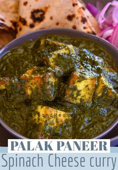 Palak Paneer - Spinach sauce with cottage cheese cubes. Saag Paneer Recipe, Paneer Recipes, Spinach Recipes, Veg Recipes, Curry Recipes, Cheese Recipes, Palak Paneer, Vegetarian Recipes, Healthy Recipes