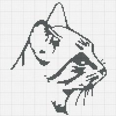 Кошки, вышивка крестом (схемы), монохром