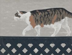 Alex Colville (Canadian, 1920 - - Cat on Fence, 1956 - Colour serigraph on wove paper - National Gallery of Canada Alex Colville, Canadian Painters, Canadian Artists, Art Gallery Of Ontario, Inuit Art, Magic Realism, Digital Museum, Collaborative Art, Cat Drawing
