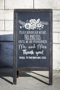 You hired a professional photographer. You want your guests to see the vows, not Instagram your vows! This is a DIY Wedding DECAL to apply to the surface of your choice. *last line can be removed if desired. Just let me know if you dont want it on your decal. *Chalkboard is just an inspiration project. Your order is the vinyl sticker only. NO frame or chalkboard will be included in your order. Great project for shabby glass window, mirror, or other similar surface. The color you choose will…