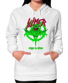 Reign Of Slime Pullover Slimer is made of pure Ectoplasm and was the first ghost captured by the ghostbusters.  He reigns on the 12th floor of Sedgewick Hotel.