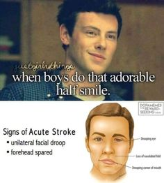 When Boys Do That Adorable Half Smile Signs Of Acute Stroke - Funny Memes. The Funniest Memes worldwide for Birthdays, School, Cats, and Dank Memes - Meme 9gag Funny, Funny Shit, Funny Posts, The Funny, Funny Memes, Hilarious, Funny Stuff, Funny Tweets, All Meme