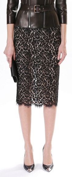 Michael Kors Pre-Fall 2013 | LOVE the mix of leather and lace!