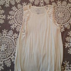 AE White Lace Tank Top Very soft and is a little long. American Eagle Outfitters Tops Tank Tops
