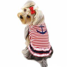 A red, white and blue sailor shirt with ruffles for small and toy breed dogs.