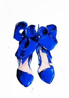 The Blue Shoes Print of Original Fashion by TalulaChristian