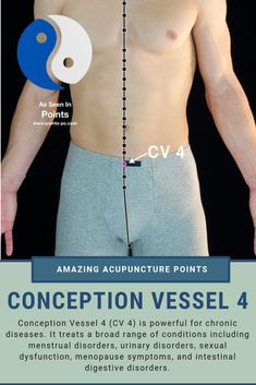 Acupuncture point Conception Vessel 4 (CV helps treat chronic and debilitating disease. Crossing point for multiple acupuncture channels. Treats urinary and sexual disorders and disfunction, menopause symptoms and intestinal and digestive disorders Acupuncture Benefits, Acupuncture Points, Acupressure Points, Menopause Diet, Menopause Symptoms, Cupping Therapy, Massage Therapy, Craniosacral Therapy, Alternative Therapies