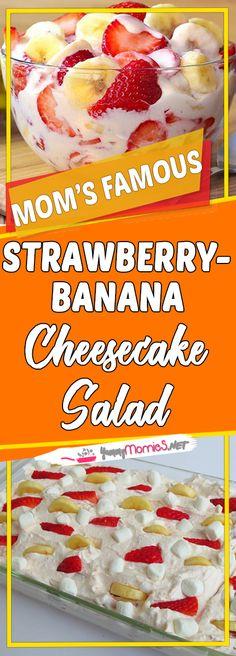 Strawberry-Banana Cheesecake Salad Via #yummymommiesnet #dessert dessert ideas #copycatrecipe copycat recipe #easyrecipes easy recipes #dessertrecipes dessert recipes easy #desserttable dessert table ideas #appetizer appetizer recipes easy