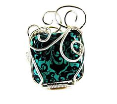 Turquoise Square Bead Ring, Wire Wrap SquareTurquoise Ring, Silver Wire Turquoise Statement Ring