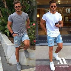 45 Trendy Mens Fashion Summer Ideas to Make Your Happy Outfits Casual, Cool Summer Outfits, Stylish Mens Outfits, Mode Outfits, Short Outfits, Men Casual, Fashion Outfits, Men's Fashion, Men's Summer Clothes
