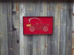"Vintage 1970s Framed ""Model T"" Automobile on Red Velvet String Art Wall Hanging"