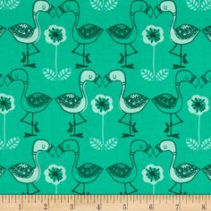 Jungly Flamingos Spearmint from @fabricdotcom  Designed by Andrea Turk of Cinnamon Joe Studio for Camelot Fabrics, this cotton print fabric is perfect for quilting, apparel and home decor accents. Colors include aqua, mint green and green.