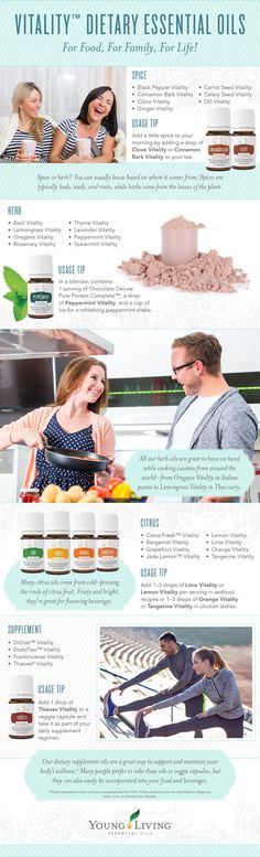 Vitality - Dietary Essential Oils. For Food, For Family, For Life. New from Young Living. We're excited to introduce Vitality™ dietary essential oils, our brand-new line that gives you a new way to discover the versatility of our pure, therapeutic-grade essential oils!