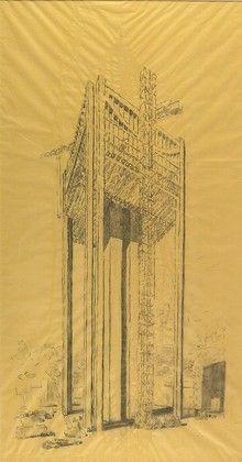 Louis I. Kahn. Kansas City Office Building, project, Kansas City, Missouri, Perspective. 1972
