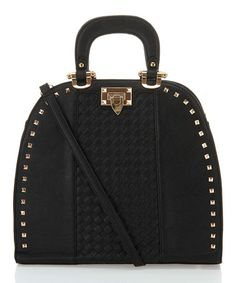 Black Studded Flip-Lock Tote by Segolene Paris