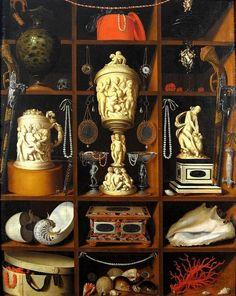 Un cabinet de curiosités peint, avec son pendant, en 1666 par Johann Georg Hinz.