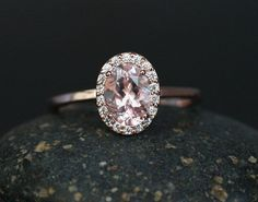 Oval 7x5mm Morganite and Diamond Halo Engagement Ring in 14k Rose Gold (Also available in White and Yellow Gold)