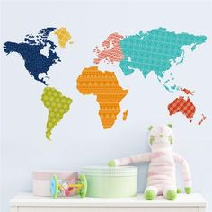 Colorful Continents World Map Wall Sticker
