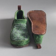 Ready to Ship Sale - Slippers with Leather Sole in light green  - above the ankle - US Men 7 1/2 or Women 8 1/2/EUR 40 - 20% off