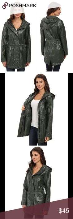 Jacket clearance 😍🌷🎀 Pair with a pair of denims, or throw on over a a cool dress for a casual chic look. Hooded jacket features a coated finish for a stylishly waxed finish  Cotton-linen blend fabrication. Drawcord waist provides a more slimming silhouette. Stacked vertical and has a flap hand pockets. Front snap flap  with zipper closure. Rounded hemline  55% linen, 45% cotton. Dry clean only. Imported. Measurements: Length: 33 in Jackets & Coats