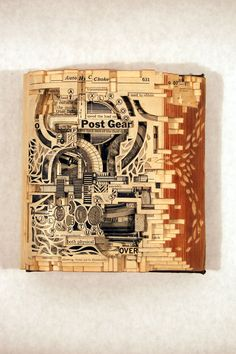 """Post Gear, 2006, Altered Book, 6-1/2"""" x 6-1/4"""" x 2-1/2"""" - Image Courtesy of the Artist"""