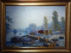 """Henry Rankin Poore  American (1859-1940) Impressionistic.  Lyme, Connecticut School artist.  """"Logging with Oxen"""" Ca. 1890s.   Oil on canvas on board. Signed lower left. Size: 27"""" high x 39"""" wide."""