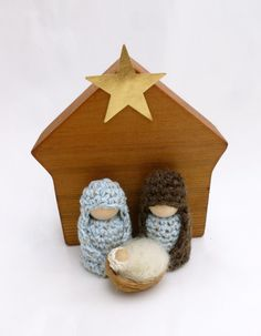 Celebrate the season with this sweet and simple Nativity set. Included in set : Mary (2 3/4 H) Joseph (2 3/4 H) Jesus (1 1/4 H) Wooden Stable ( 5