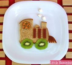 Choo-Choo train sandwich (get some blue food coloring to make it Thomas and my grandson would be all over this!)