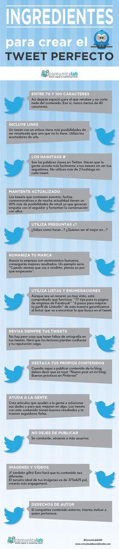 Hola: Una infografía con los ingredientes del tweet perfecto. Vía Un saludo