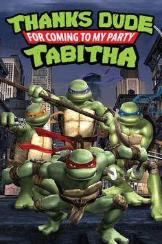Teenage Mutant Ninja Turtle 4x6 thank you card by DenimGraphics