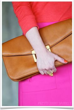 i can never remember how to spell fuchsia but for this i will try. who knew that a camel envelope clutch could make such sweet love to these neon brights?