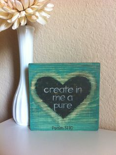 Scripture Art  Christian Art  Create in Me a Pure by graceforgrace, $23.00