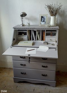 Lovely Painted Vintage Shabby Chic Bureau Desk Farrow & Ball | eBay