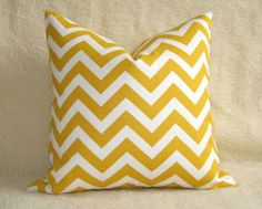 gennia: Pillows - Chevron Print Lumbar Pillow / Sunshine Yellow / by WillaSkyeHome - yellow chevron pillow