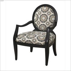 Black Chair with Mist Floral Fabric
