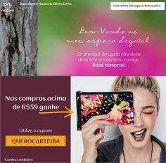 Nas compras acima de R$59 na categoria de Maquiagem, ganhe uma Bolsa-Carteira de Faces. Ao finalizar seu pedido, use o cupom QUEROCARTEIRA.  Não aplicável a presentes. Somente aplicável em itens de maquiagem. Promoção limitada a 1 cupom por CPF somente no período de 28 a 30/06/2016. Compre online na minha franquia digital e receba em casa:  rede.natura.net/espaco/terezacunha #perfume #shampoo #desodorante #maquiagem #batom #terezacunha #consultoranaturadigital #mascaracilios  #base #cabelo