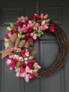 Spring wreath Tulip Wreath Spring Wreath for front door everyday wreaths for front door wreaths for front door Spring Wreaths Diy Spring Wreath, Spring Door Wreaths, Easter Wreaths, Spring Crafts, Holiday Wreaths, Mesh Wreaths, Yarn Wreaths, Wreath Crafts, Diy Wreath