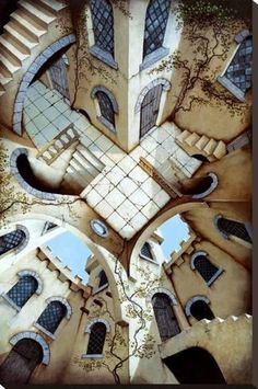 Poster of A Courtyard Illusion by the artist Irvine Peacock. An Escher like illusional poster. Escher Kunst, Escher Art, Mc Escher, Illusion Kunst, Illusion Art, Op Art, Illusion Paintings, Fantasy Posters, Poster Prints