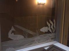 Salmon glass etching, Grotto Spa at Tigh-Na-Mara, Parksville, British Columbia