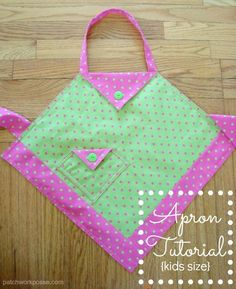 This simple apron tutorial shows you how to make one on point with a pocket. Great for kids or enlarge it for adults.