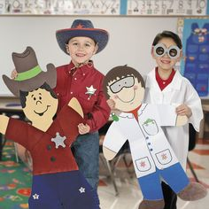 """""""I love these giant bulletin board kids because they're so versatile and they let each child's personality shine through! Kids can design them to look like themselves or like a favorite character from a book or play. They also make great decorations for a classroom open house!"""" - Amy, Education Product Development Specialist for Oriental Trading Company Classroom Bulletin Boards, New Classroom, Classroom Community, Classroom Decor, Back To School Kids, Shapes For Kids, Counseling Activities, Fun Diy Crafts, Inspiration For Kids"""