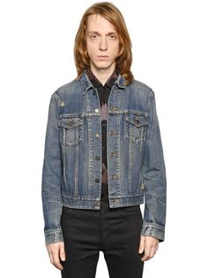 SAINT LAURENT Oversized Repaired Cotton Denim Jacket, Blue. #saintlaurent #cloth #casual jackets