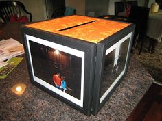 DIY: Card Box made with Picture Frames, placed on lazy susan