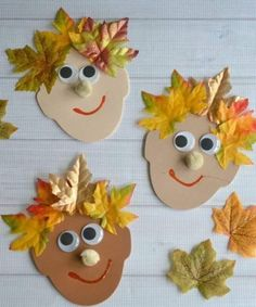 Silly Leaf Hair - Kid Craft (best fall crafts for kids) Kids Crafts, Leaf Crafts, Fall Crafts For Kids, Toddler Crafts, Preschool Crafts, Projects For Kids, Art For Kids, Craft Projects, Craft Tutorials