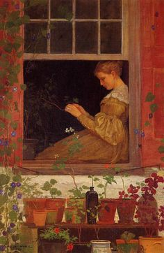 Winslow Homer: Morning Glories, 1873. Oil on canvas. Private collection. #Homer #oil #realism